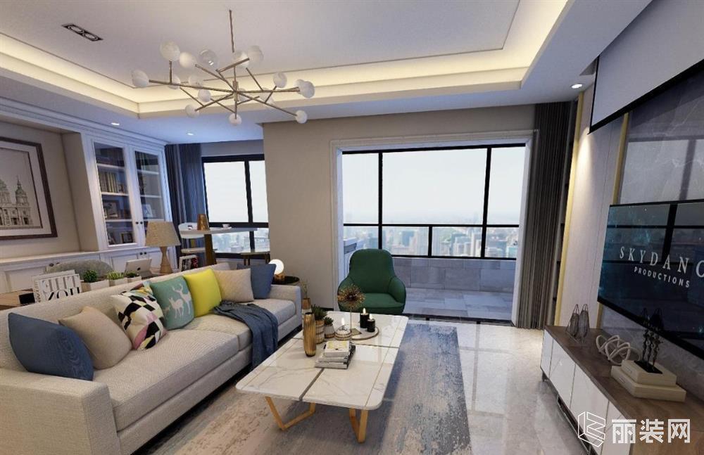 上海富国路-121m2三居室现代简约风格装修案例图