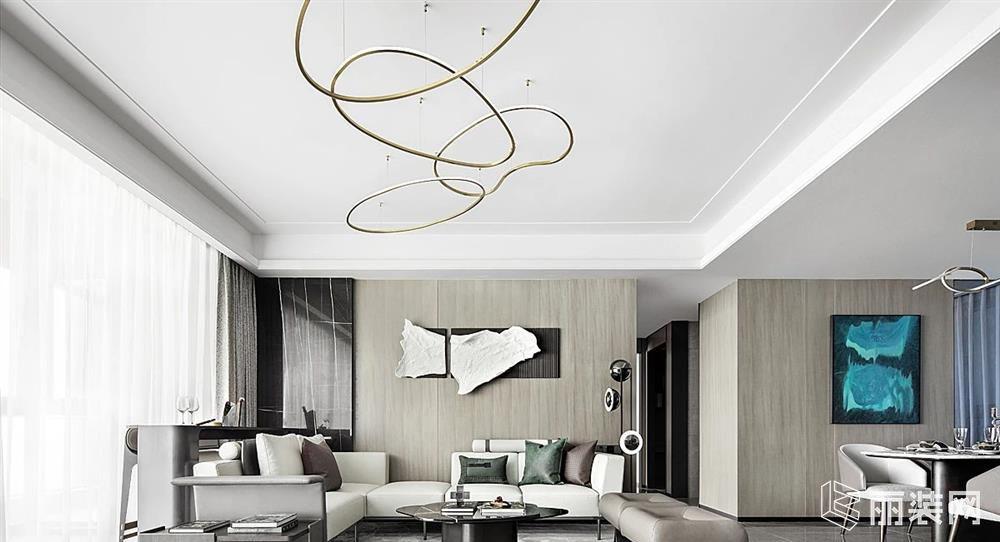 威海智慧空间装饰-143平米现代轻奢案例效果图